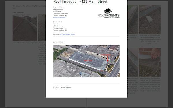 screenshot of commercial roof report