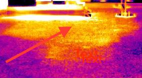 infrared flat roof scan showing thermal hot area
